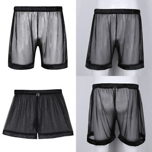 725bb3790efbbe Herren Loose Mesh Kurze Hose Transparent Boxer Shorts Unterhosen ...