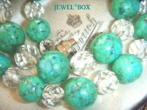 ART-DECO-1930s-CZECH-Swirling-GREEN-TURQUOISE-ART-GLASS-BEADS-CRYSTAL-NECKLACE