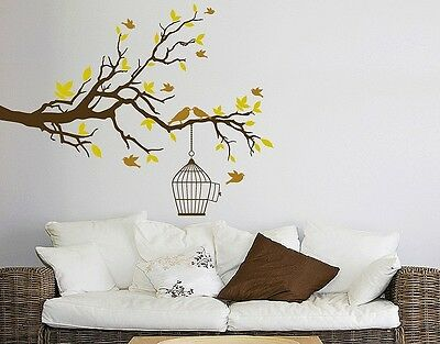 Branch with Birds Wall Decal, Floral Decals, sticker, mural