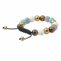Authentic Macrame Bead Bracelet Healing Howlite, Tiger Eye Turquoise on sale
