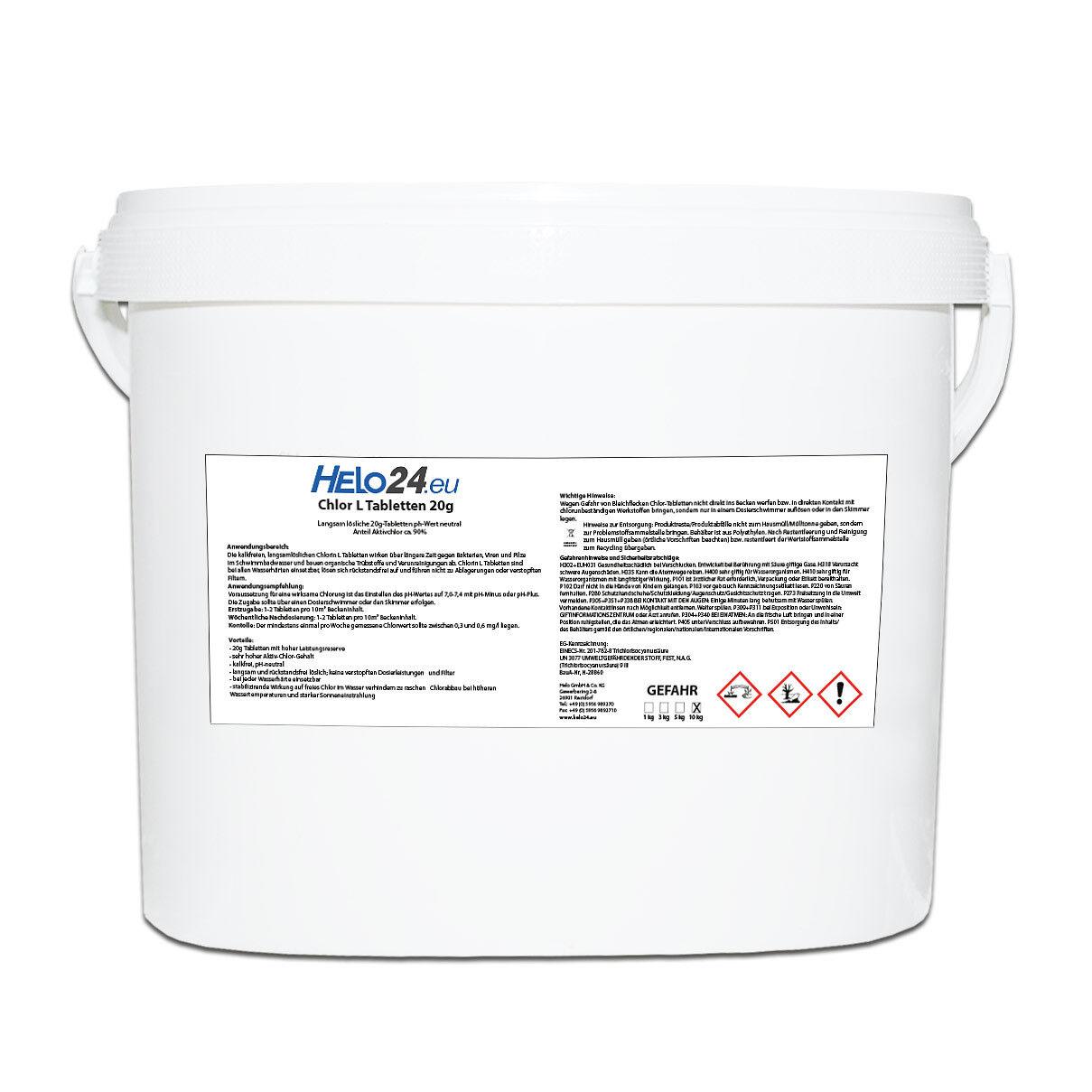10kg Eimer Chlortabletten mit 90% Aktivchlor Chlor L, 20g Tabletten