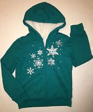 NWT THE CHILDREN'S PLACE TCP TEAL SHERPA HOODIE SNOWFLAKES SPARKLY LARGE 10-12