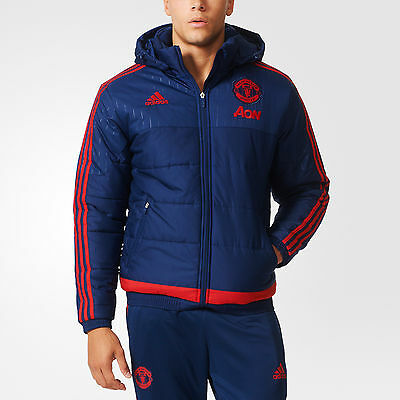 Adidas Men's Machester United FC Padded Thermal Winter Hooded Jacket Insulated
