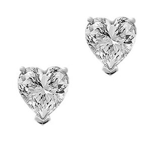 Heart-Cut-Solitaire-Stud-Earrings-2-0ct-Solid-14k-White-Gold-Screw-Back-Gift
