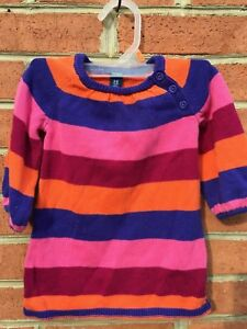 e4ccefee39d Details about Infant Girls 6-12 M Old Navy Striped Short Sleeve Sweater  Dress multi color