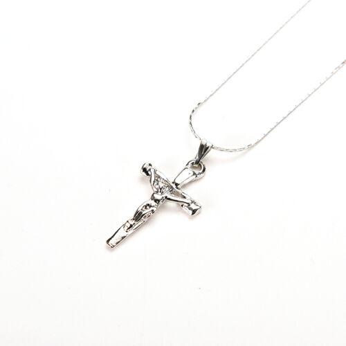 1PC Christus-Kreuz Silber P Jesus-Kruzifix-Schwert Anhänger Halskette hw