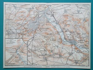 GERMANY-Stuttgart-City-Town-Plan-amp-Environs-1910-MAP-Baedeker