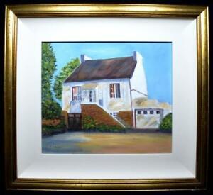 Original Irish Folk Art Oil Painting Signed c1970s