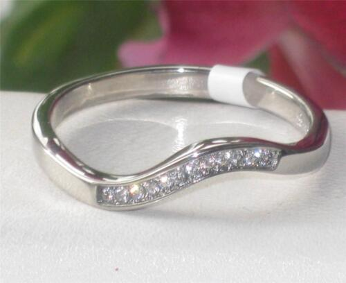 Ladies Eternity Band swirl stacking simulated diamonds stainless steel silver