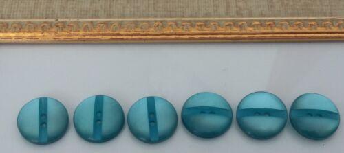 botón de plástico 6 Botones Vintage Azul Turquesa// 18mm Nacarado agujero de 2 reverso plano