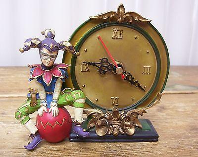 Jester Joker Clown Clock Figurine Figural Resin Decorative Juggling Acrobat