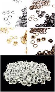 100 X 5mm Œillets Avec Rondelles En Blanc Argent Bronze Doré Ou Bronze Loisirs