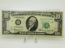 Old Paper Money 1963-A Ten $10 Dollar Bill Federal Reserve Note Series New York
