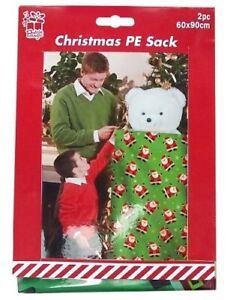 Jumbo-2-x-90cm-Printed-Polythene-Christmas-Present-Sack-Bag-Gift-Tags-Stocking