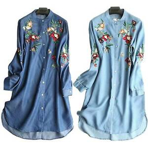 Details about Women\'s Plus Size Denim Embroidered Floral Shirt Dress Long  Sleeve Loose Blouse