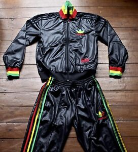 Adidas Chile 62 Full Tracksuit. Shiny Black with Rasta-coloured ... c8d967998ec7