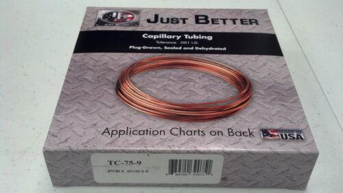 .075 ID x .125 OD x  9 Feet JB Industries Capillary Tubing #TC-75-9 COPPER