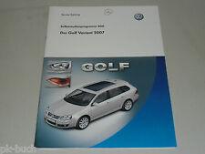 SSP 400 VW Selbststudienprogramm Service Training Der Golf Variant 2007