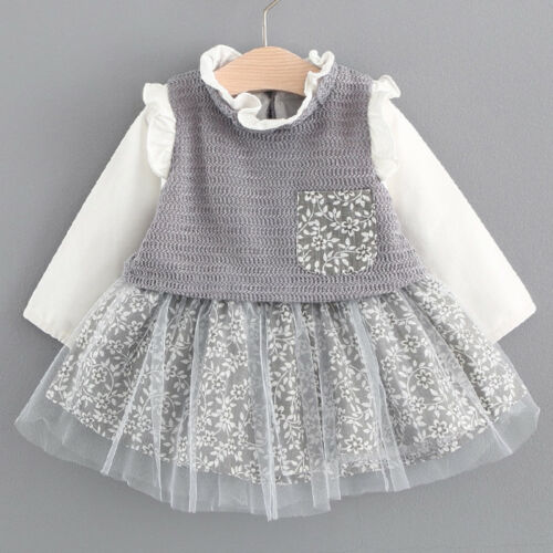 New Autumn Blouse Lace Crew Neck Baby Girls Dress Birthday Party Kids Clothes UK