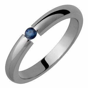 Titanium Ring Sapphire Tension Set Comfort Fit Wedding Band 3mm Wide Polished