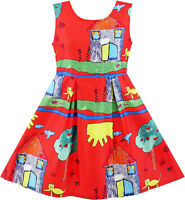 Girls Dress House Tree Cat Bird Print Party Sundress Size 4-10 Us Seller