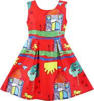 Girls Dress House Tree Cat Bird Print Party Sundress Size 4-10 Us Seller