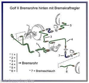 =Golf 2 - Bremsleitungsset Hinterachse - Leitung 5/6+2 Schläuche+Bremsflüssigk.=