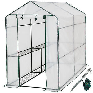 Serre de jardin metal PE plastique tente abri légume fruit plante 186x120x190cm