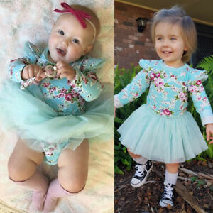 96a79a02e087 Cute Newborn Baby Girl Floral Long Sleeve Romper Lace Dress Outfits ...
