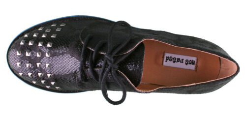 Not Rated Women/'s Ladies Black Studded Flat Knoxville Oxford Shoes NIB