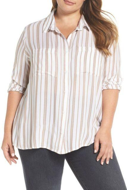 BP Nordstrom Women's Plus Size 4X White Tan Long Sleeve Blouse Perfect Shirt