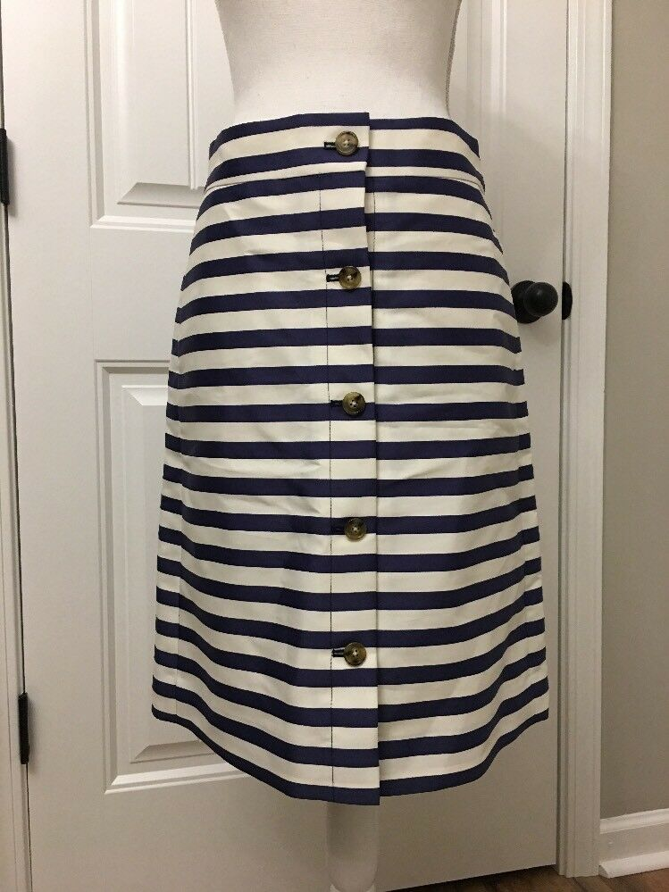 New J Crew A-line Button Front Striped Skirt White Marine Sz 6 Sample