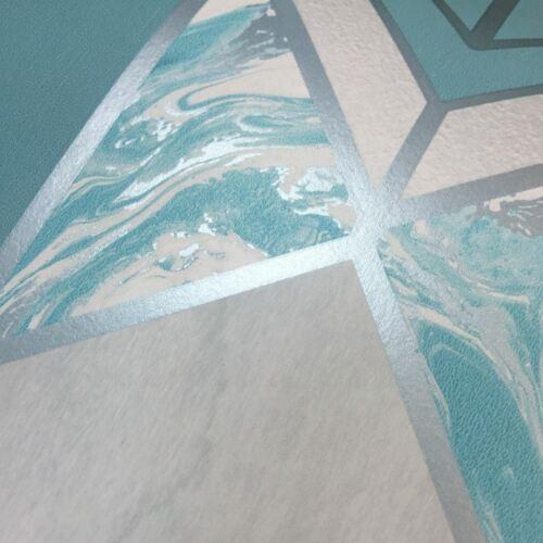 Elixir Géométrique Marbre Papier Peint Métallique Bleu Sarcelle//Argent Muriva 167503
