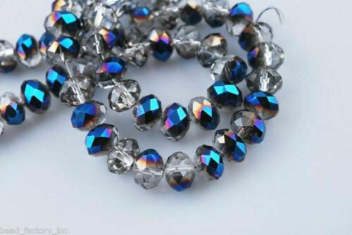 100Pcs 4x3mm Faceted Glass Crystal Beads Rondelle Jewelry Findings Loose Spacer