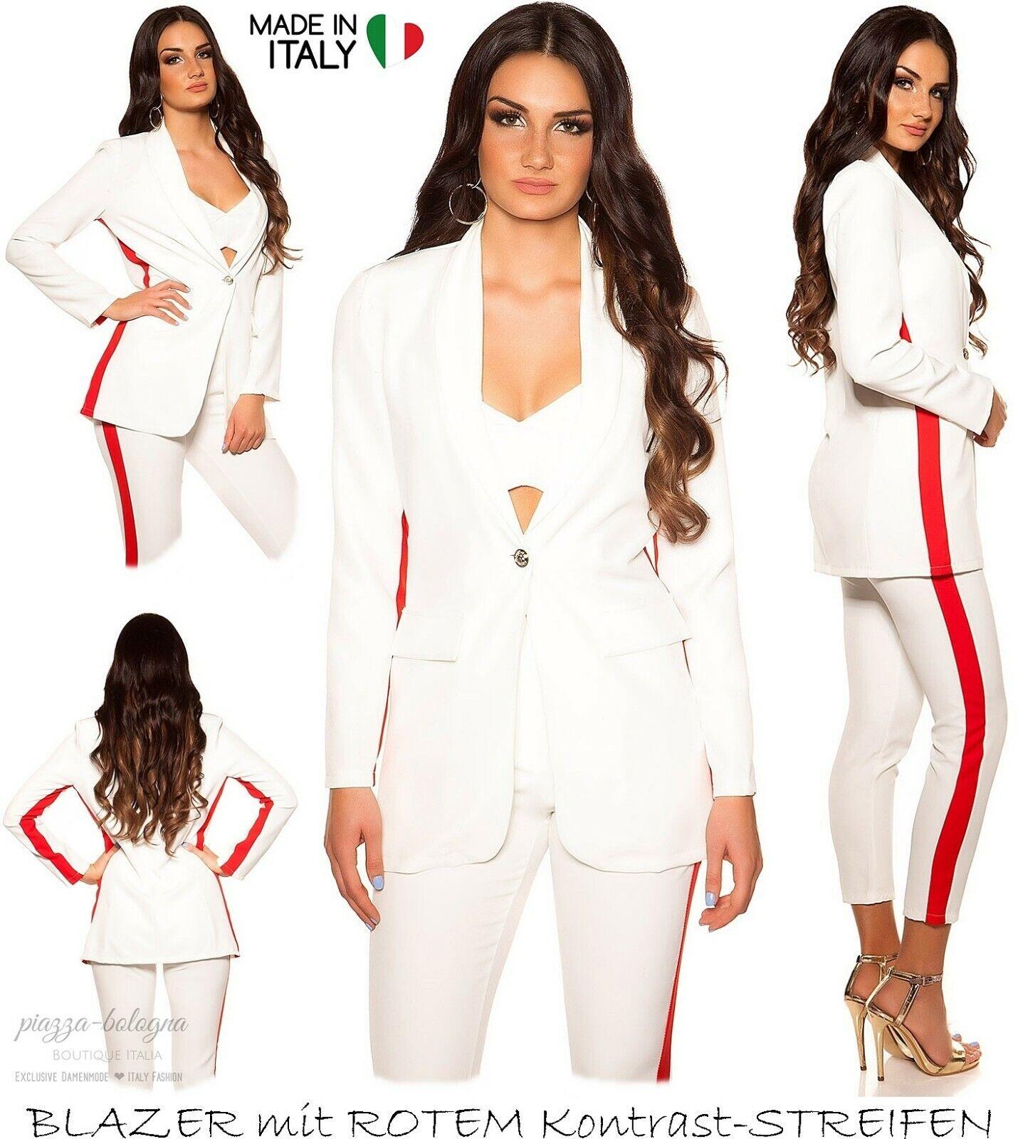 NEU 34-36 ♡ sommerleichter Blazer roter Kontrast-Streifen  Creme-Weiß XS-S