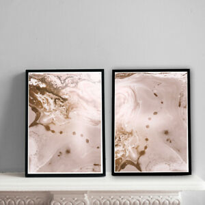 Home-Prints-A4-Mocha-amp-Pink-Marble-Pattern-Gift-Wall-Art-NO-FRAME