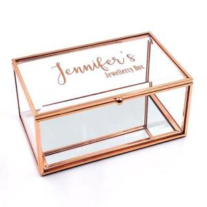 Details About Personalised Rose Gold Glass Jewellery Box Any Name He745 Pv42