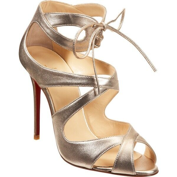 Christian Louboutin Marechale 100 gold Leather Leather Leather Sandals 38 8 Worn Once eca7b7