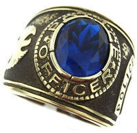 Blue Sapphire Stone Police Officer Gold Ep Mens Ring