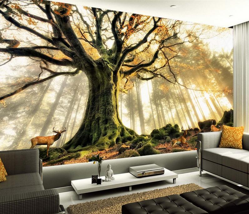 3D Tree Paint 4182 Wallpaper Murals Wall Print Wallpaper Mural AJ WALL UK Carly