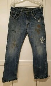 MENS AMERICAN EAGLE LOW RISE BOOT DISTRESSED DESTROYED DENIM JEANS SIZE 31 x 30