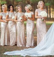 Wedding Bridesmaid Evening Sequin Rose Gold Prom Women Dress Long Dress UK6-14