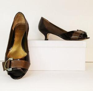 70ebb125225a Circa Joan   David Berke Brown Patent Leather Peep Toe Kitten Heels ...