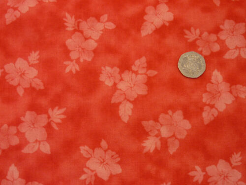 Quilting Fabric Light Scarlet Flowers Scarlet Background 100/% Cotton Fat Quarter