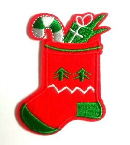 Christmas Stocking Patch Xmas Embroidered Iron Sew On Applique Santa Yuletide