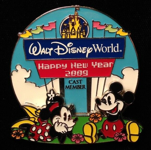 disney pin mickey mouse minnie wdw entrance happy new year 2009 cast excl le