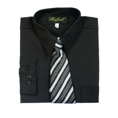 Boy/'s Dress Shirt /& Tie Set Long Sleeve-Button Down choose your color /& Size