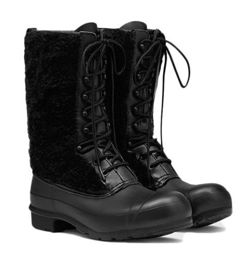 Hunter Genuine Shearling Waterproof Lace Up Winter Snow Boots Black Size 6  295