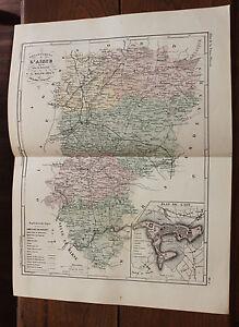 """1850 Carte Géographique Atlas époque couleur Département 02 L'Aisne Laon - France - Commentaires du vendeur : """"Trs bon état"""" - France"""