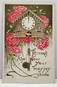 New-Year-Cuckoo-Clock-Embossed-Flowers-1909-to-Carthage-Missouri-Postcard-G14